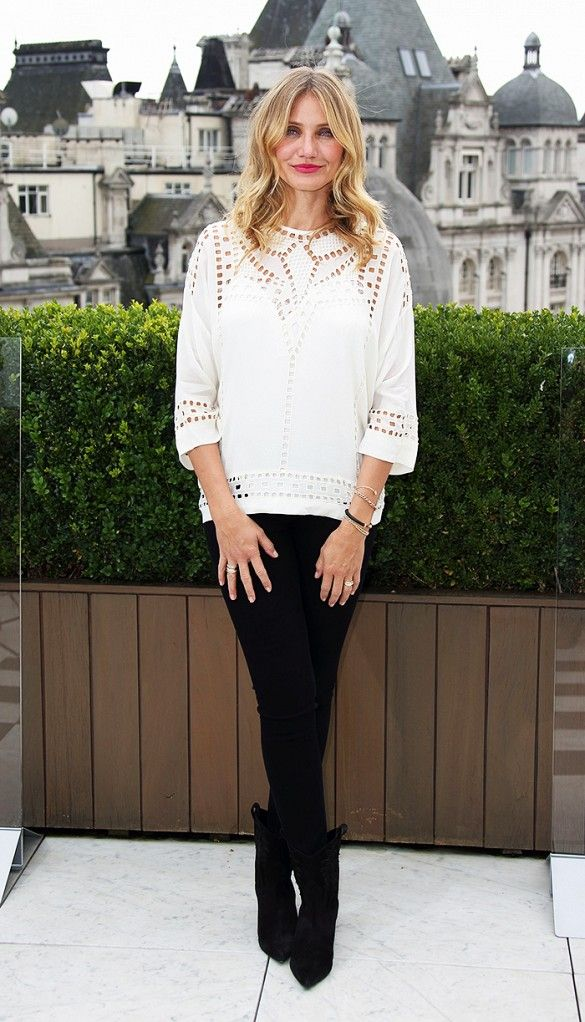 Image result for celebrities in white eyelet top and sweater