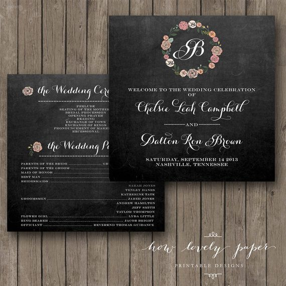 Printable Wedding Program  DoubleSided by HowLovelyPaper on Etsy, $15.00