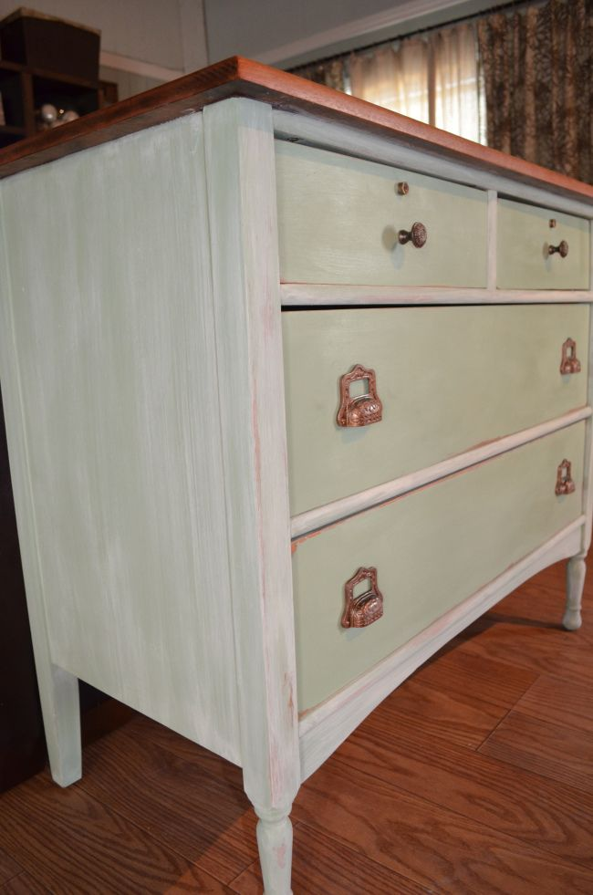 Annie Sloan Chalk Painted Dresser With Vintage Pulls Duck Egg Blue English Yellow