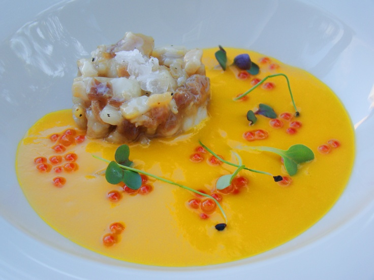 Cold mango soup with a Chutney of Iberian bacon and trout caviar ...