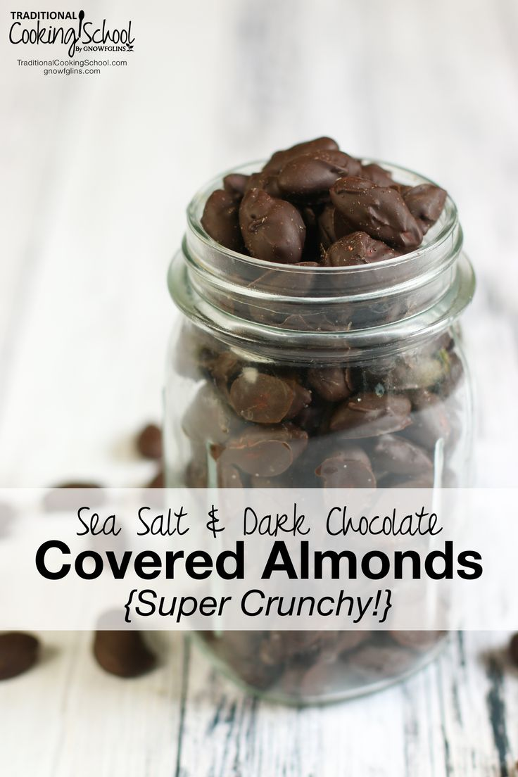 "Sea Salt & Dark Chocolate Covered Almonds {Super Crunchy!} | ""Please make them crunchy!"" said my husband...when he asked me to make him this treat he really loves. The jury is definitely *not* out on these chocolate covered almonds. They are fabulous! This recipe is a win-win-win. Yummy, healthier than any you could buy, and super crunchy! 