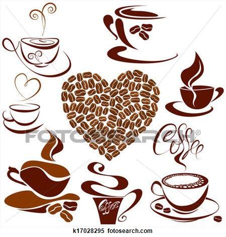 set, van, koffiekopjes, iconen, hart gedaante, is, gemaakt, van, koffie bonen, stylized, schets, symbolen, voor, restaurant, of, koffiehuis, menu. Bekijk Grotere Illustratie