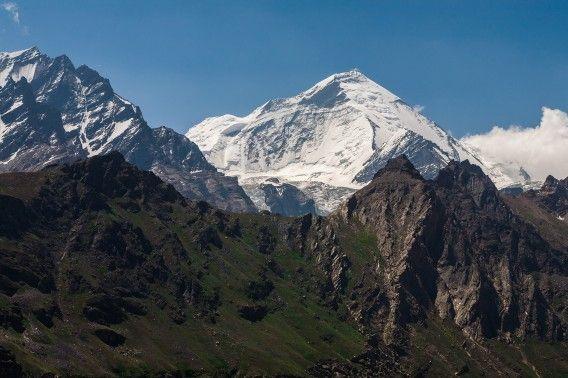 Himalayan twin peaks Nun- Kun from atop a trek to Parkachik la near Zanskar an offbeat adventure destination in North India