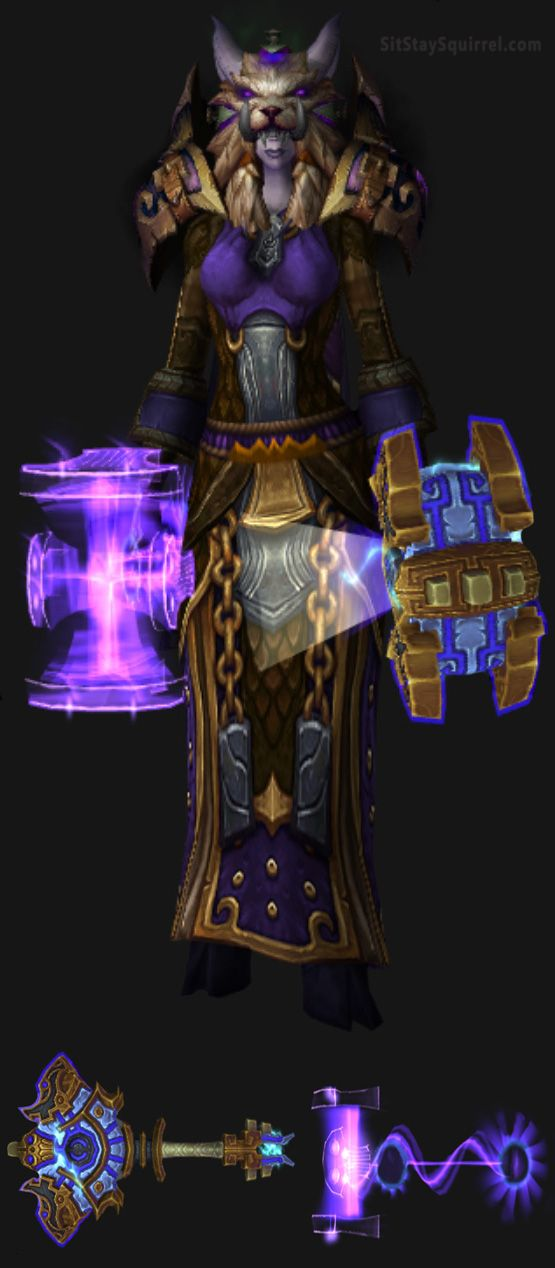 Draenei Female Enhancement Shaman Artifact Transmog Set. World of Warcraft Legion