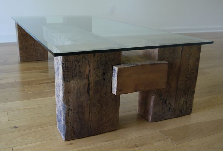 Reclaimed Wood and Glass Coffee Table. Unique от TicinoDesign