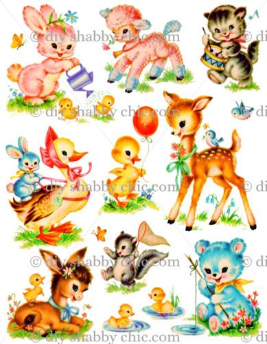 A6-EASTER-ANIMALS-CHILDRENS-KIDS-DECAL-SHABBY-CHIC-IMAGE-TRANSFER-VINTAGE-LABEL