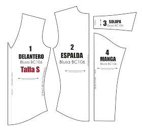 Molde de costura gratis para blusa manga larga Talla S M L para imprimir en casa. Formato PDF