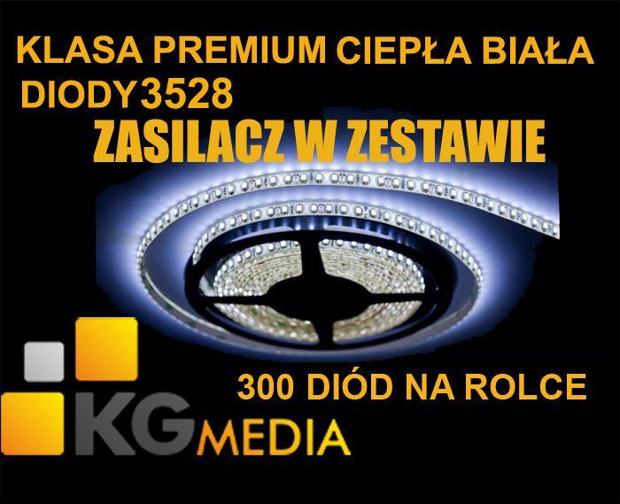 TAŚMA LISTWA 300 LED SMD 5m ZIMNA BIAŁA   ZASILACZ