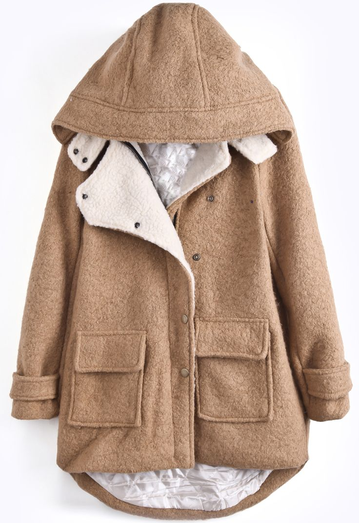 Khaki Hooded Long Sleeve Pockets Dipped Hem Coat - Sheinside.com