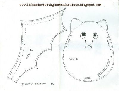Life and Art with Glamma Fabulous: Halloween Bean Bag Bat Pattern Freebie