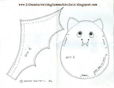 Life and Art with Glamma Fabulous: Halloween Bean Bag Bat Pattern Freebie