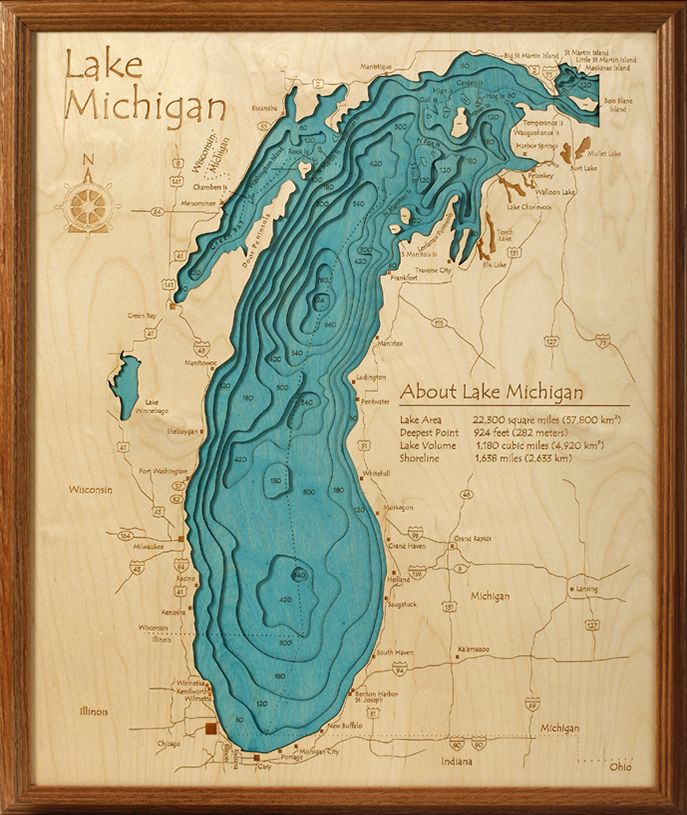 Lake michigan water depths wall art topographic