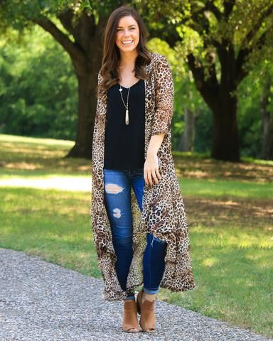f406d4fb68ef Small Print Sheer Leopard Duster 3/4 Sleeves in 2019 | My Style ...