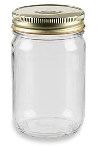 12 oz Eco Mason Glass Jar with Gold Button Lid - ECO12GB