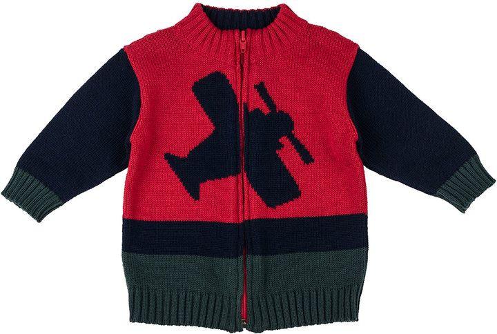 Florence Eiseman Airplane Intarsia Knit Zip Sweater 3 24