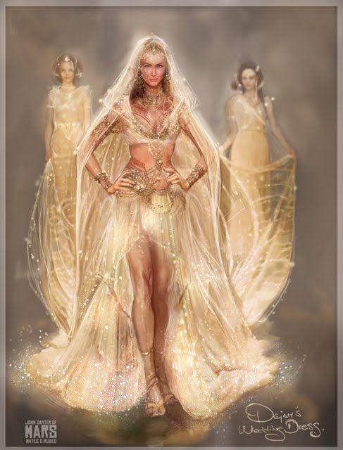 "An Artists conception of Dejah Thoris's wedding dress as worn by Lynn Collins in the film ""John Carter."""