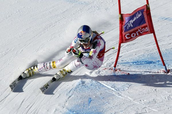Lindsey Vonn of the USA takes 1st place competes during the Audi FIS Alpine Ski World Cup Women's Downhill on January 19, 2013 in Cortina D'ampezzo, Italy.