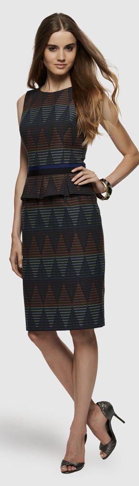 David Meister Geometric Jacquard Dress