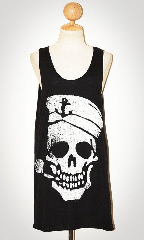 Sailor Skull Biting A Pipe Halloween Black Tank Top Sleeveless Women Art Punk Rock T-Shirt Size M