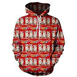 Uideazone Juniors Print Ugly Christmas Cats Sweatshirt Cute X-mas Pullover Hoodie Red
