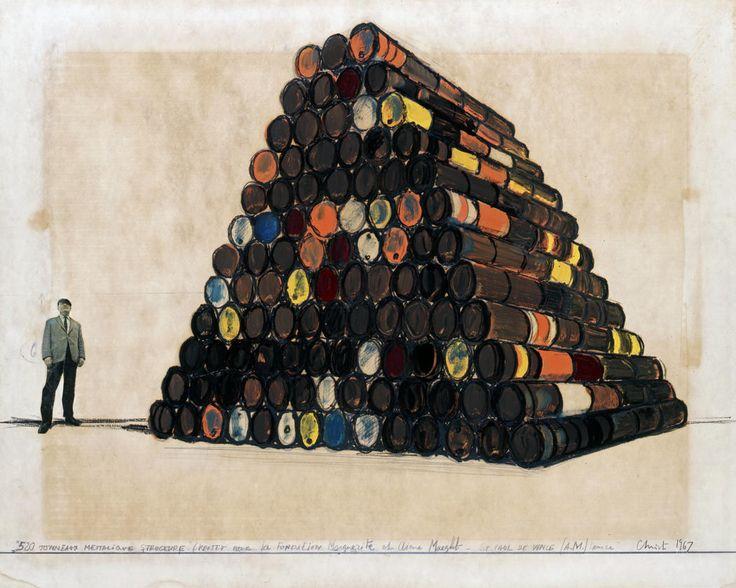 """Christo, """"520 Tonneaux Mettalique Structure"""" (Projet pour la Fondation Marguerite et Aime Maeght - St. Paul de Vence (A.M.) France, Drawing 1967, 22 x 28"""" (56 x 71 cm) Pencil, charcoal, enamel paint, wax crayon and photograph"""