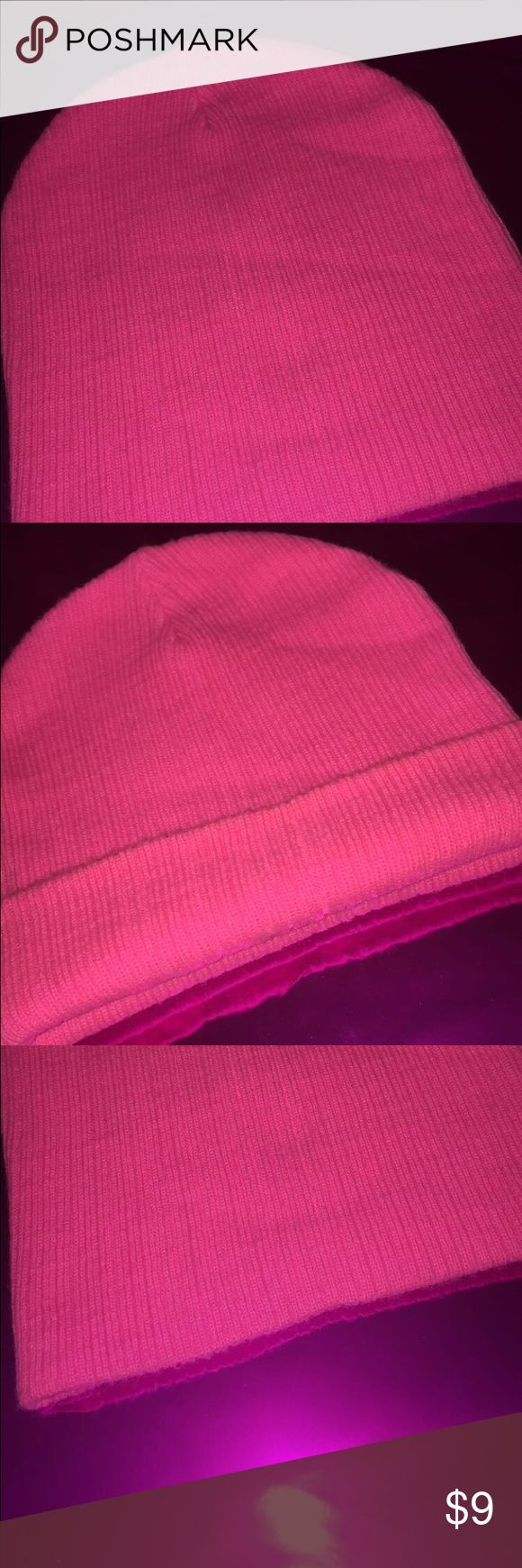 PINK BEANIE HAT!💕 Fashion statement! Cute for: YOUNG GIRLS, TEENS, or Any lady that loves pink! NO TRADES🚫 NEVER TORN🚫 fun, cute fall/winter beanie F21 Accessories Hats