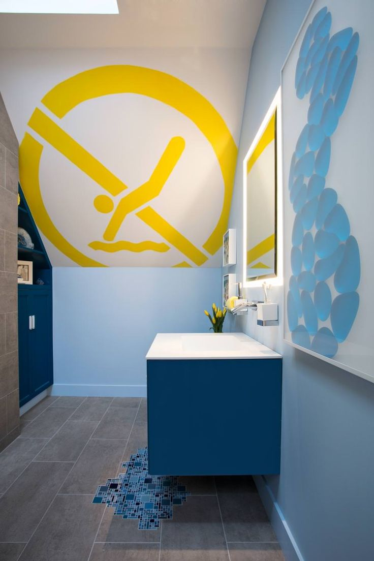 Fantastic Kids Bathroom Decorating Ideas With Cool Wall Mural And Floating Blue Painted Wooden Vanity Sink As Well As Corner Bathroom Storage Cabinet, Stunning Kid Bathrooms Design Ideas : Bathroom