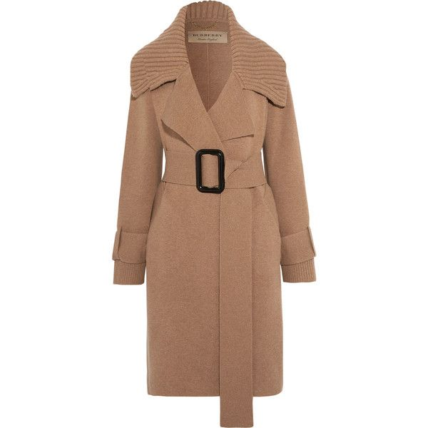 Burberry Burberry - Leather-trimmed Belted Wool-blend Cardigan - Camel (€1.235) via Polyvore featuring tops, cardigans, cardigan top, camel cardigans, camel top, burberry top e beige top