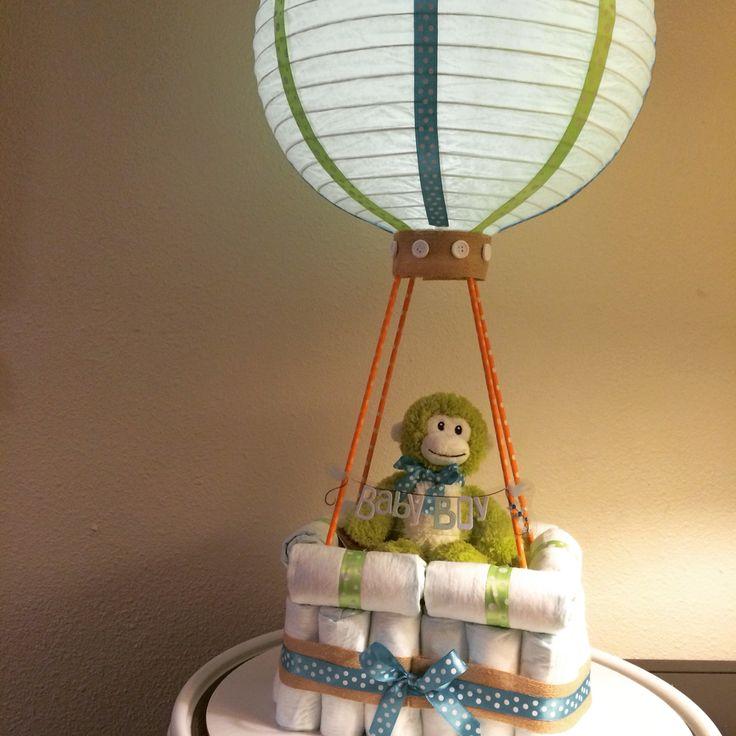 Led light up lantern baby boy hot air balloon diaper cake