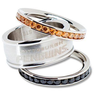 Logo Art Pittsburgh Penguins Ladies Spirit Crystal Stacked Ring Set