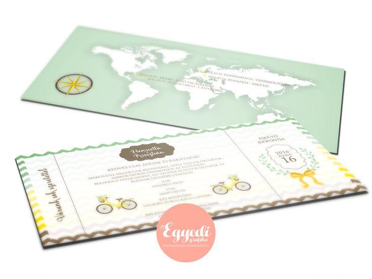Egyedi, utazó kártya stílusú esküvői meghívó | Customized travel pass invitation card for wedding