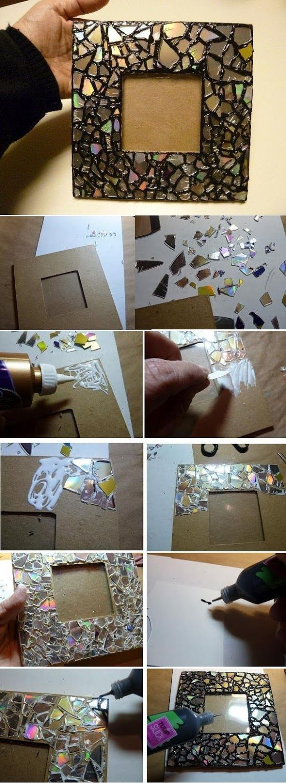 Eski compack diskler teneke makası ile kesilerek mozaik uygulaması yöntemiyle kartonun üzerine yapıştırılmış. Aralarındaki boşluklar ise siyah boyutlu kumaş boyası ile doldurulmuş. Bu geri dönüşüm pro