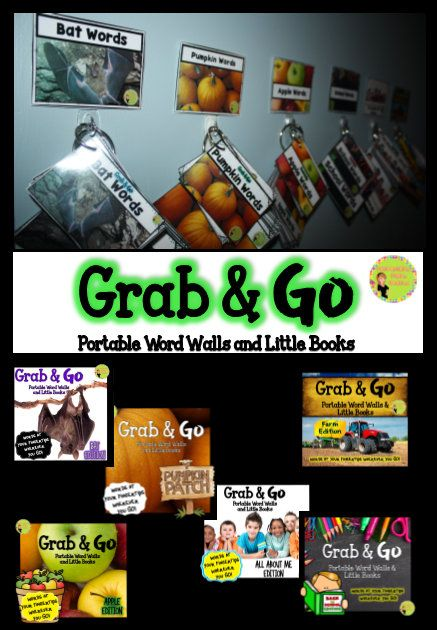 """""""Grab & Go"""" Portable Word Walls and Little Books. Use thematic portable word walls in writing centers, word work, sorting, and more. Bats, Pumpkins, All About Me, School, Farm, and Apple Editions. $"""