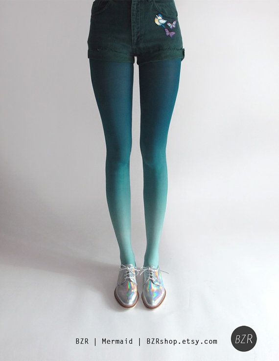 Hand dyed Ombré Tights in Navy by Tiffany Ju.    Of all my newer colors, this one was most requested by customers. A beautiful greenish, blueish,