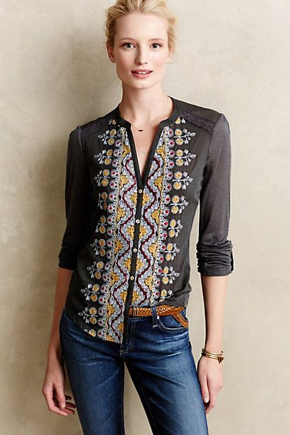 I know a lot of style guides say for women of my shape to stay away from strong embellishment down the torso, but I love this country-western look, with the charcoal and yellow coloring.  Eden Flora Top #anthropologie: