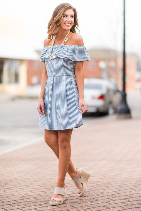 """The Tayler Dress, Blue-White""You literally will not find a dress more precious than this off the shoulder, seersucker dress! The ruffle is so girly and feminine and it the perfect detail for dress. #newarrivals #shopthemint"