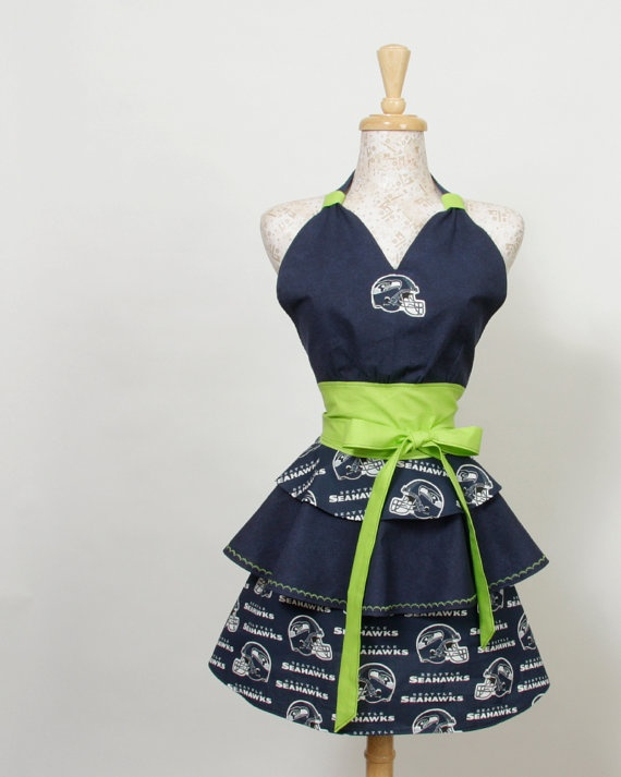 Seattle Seahawks Apron tiers of NFL Seahawks by apronqueen on Etsy, $34.95