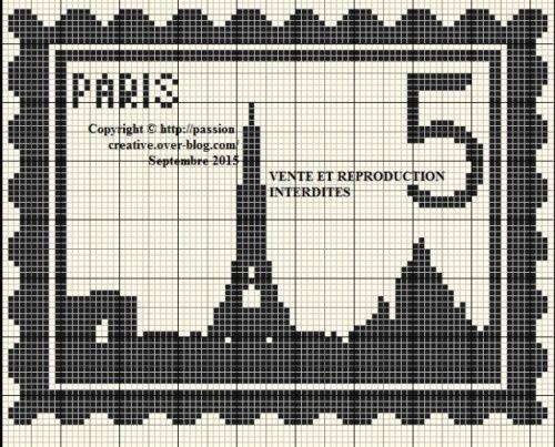 Grille gratuite point de croix : Timbre Paris