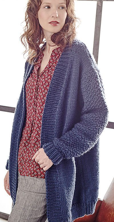 Free Knitting Pattern for Tyburn Cardigan - This cozy long-sleeved sweater by Sarah Hatton features mostly stockinette with ribbed sloped front and seed stitch set-in sleeves. Quick knit in bulky yarn. Rated easy by Ravelrers and skill level 2 by Rowan.