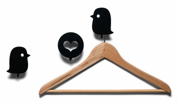 Oiseaux et coeur - Set 3 patères