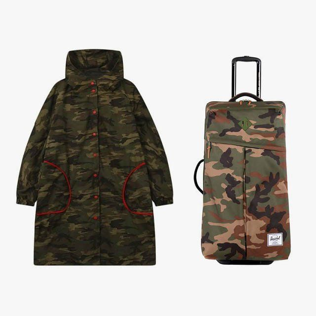 Disasteye camouflage coat with contrast pockets, $60, withchic.com; Herschel Supply Co. parcel luggage, $300, herschelsupply.com