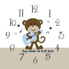Personalized Monkey Rockstar Nursery Clock Wall Cl by PersonalizedbyDiane3