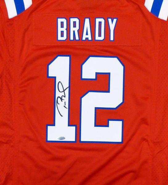 New England Patriots Tom Brady Autographed Red Nike Jersey Size L TriStar Holo