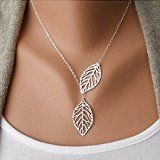 Aukmla Chic Leaf Shaped Chain Jewelry Necklaces for Women and Girls (Sliver)  by Aukmla  $6.66