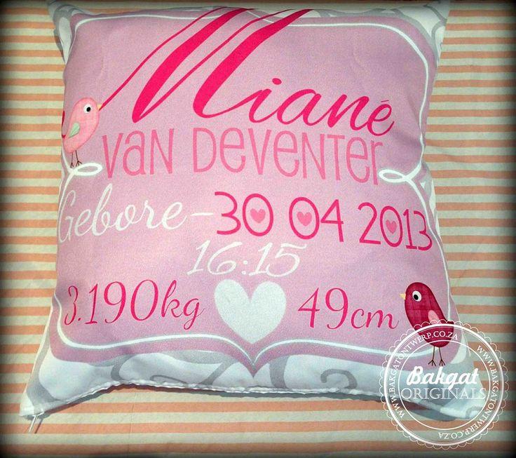 Personalised birth cushion
