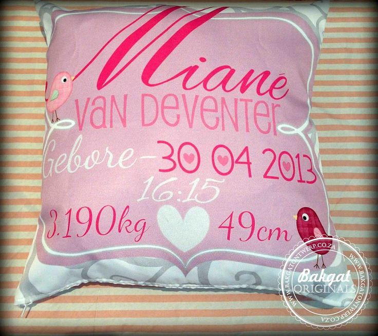 Personalised birth cushion