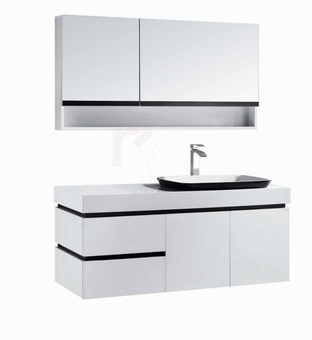 €1.199,- Lambini Designs Quadro Badmeubel - Hoogglans wit - 1 kraangat - 120cm (B) - 47cm (D) #design #badkamer #meubel