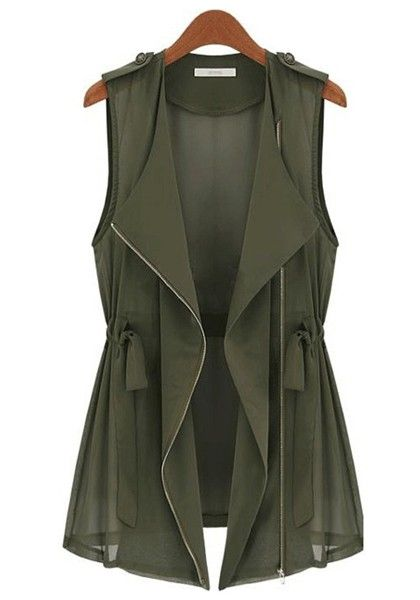 Great transitional piece for fall. Army Green Drawstring Vest