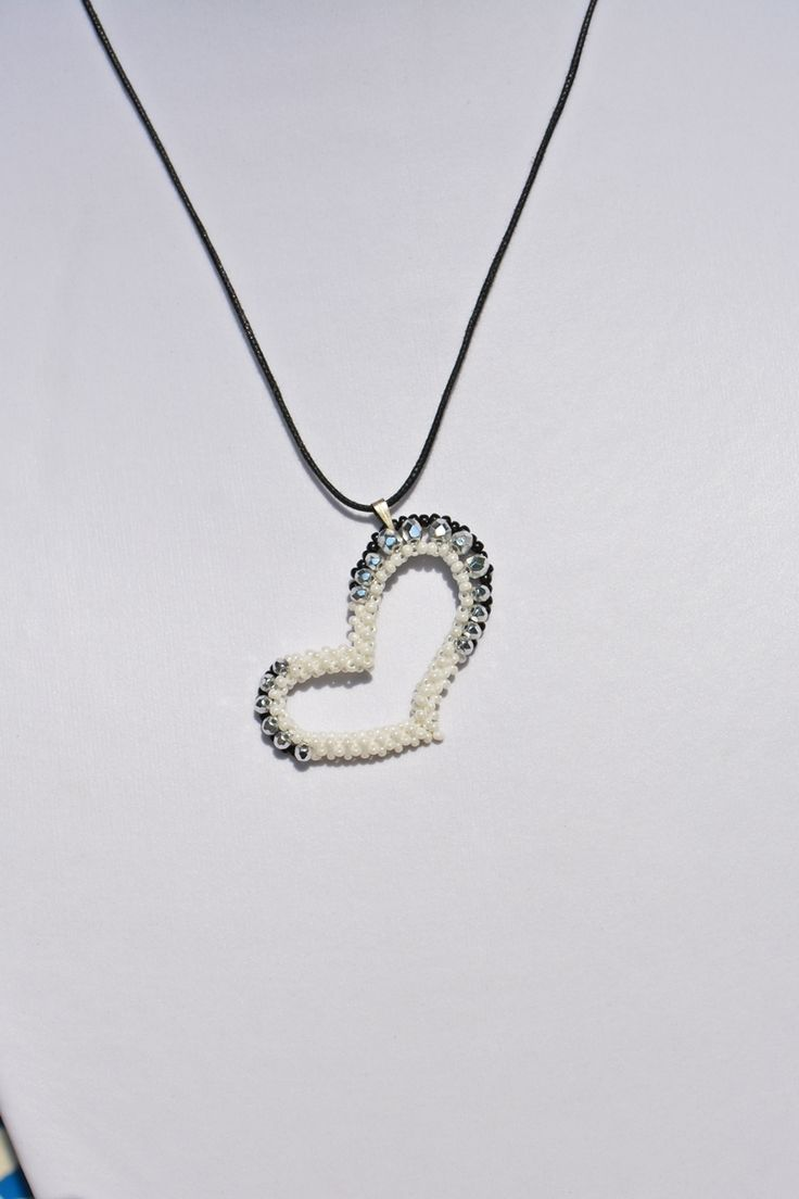 LUXURY WHITE-DARK HEART STYLE PENDANT from luxurybeadjewelry.co.uk