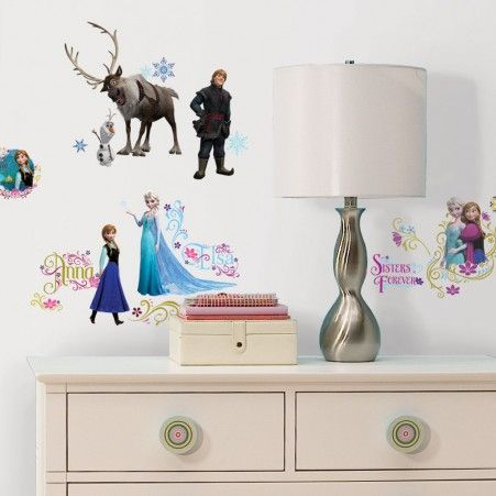 The complete Frozen set featuring Elsa, Ann,  Kristoff and Sven wall stickers with glitter.
